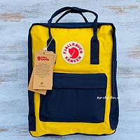 Портфель рюкзак с лисой канкен Fjallraven Kanken 16 л (желтый/синий)