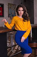 Женская стильная шифоновая блуза с брошью и длинным рукавом, фото 1
