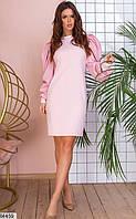 Платье женское демисезонное красивое нарядное рибана/габардин 42-46р.,цвет пудра