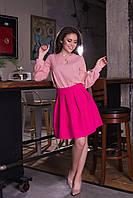 Женская короткая юбка со складками и с потайной молнией, фото 1