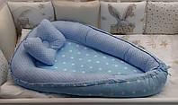 Двухсторонний кокон - гнездышко для новорожденных деток с ортопедической подушкой. Звездочки ( цвет голубой)
