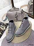 Жіночі демісезонні черевики сірі з натуральної замші, фото 2