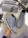 Жіночі демісезонні черевики сірі з натуральної замші, фото 3