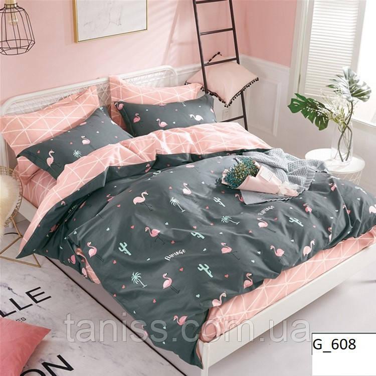 """Полуторный набор постельного белья Бязь """"Gold"""", розовый-серый, фламинго"""