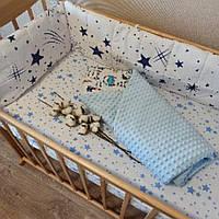 Набор в кроватку для мальчика (бортики на 3 стороны + простынь + одеяло)