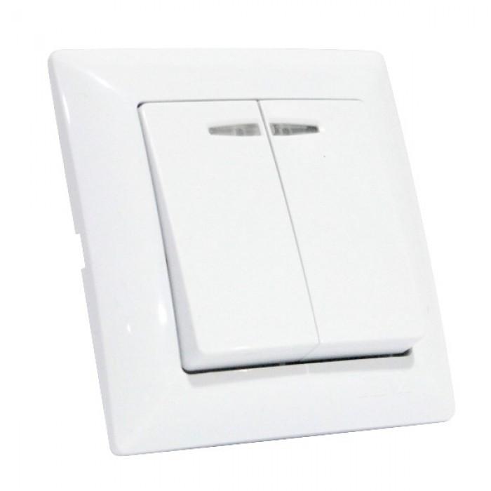 Вимикач 2-клавішний з підсвіткою білий TINA