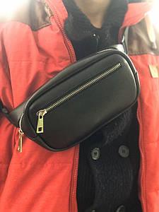 Поясная сумка бананка v.2.0. BUSSINES портофино черный (кожа)