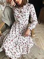 Женское весеннее платье в цветочный принт,размеры(42-44 и 44-46)