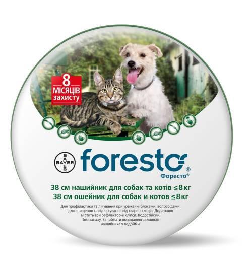 Ошейник от блох и клещей Форесто Foresto Bayer для кошек и собак малых пород 38 см