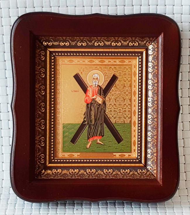 Святой апостол Андрей Первозванный 23х26см (темный киот)