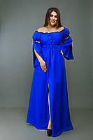 Длинное красивое платье со съёмными рукавами и спущенными плечами батал
