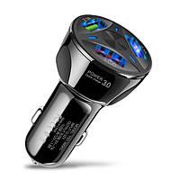Автомобильное зарядное устройство быстрая зарядка Olaf SLS-001 Quick Charge 3.0 3 USB порта Black