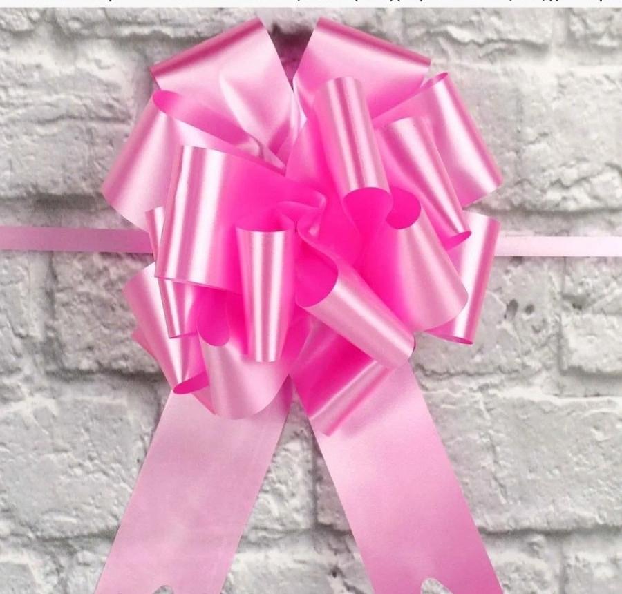 Бант для упаковки подарунків рожевий діаметр 17 см, ширина стрічки 4.5 см