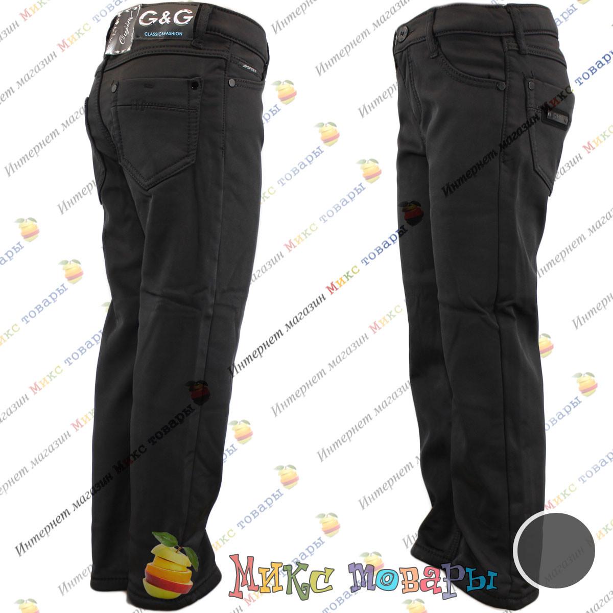 Чёрные Атласные брюки с флисом для мальчика Размер: 6- 7 лет (vn3719)