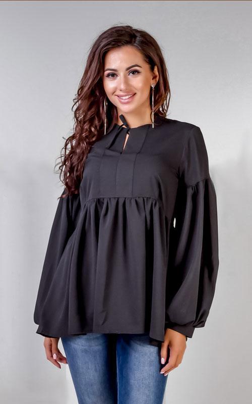 Блузка черная, креп шифон