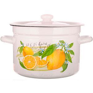 "Каструля емаль 4.5 л ""Лимон"" 9350 НМТЗ/ Білий /1615/2"
