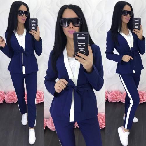 Женский прогулочный брючный костюм двойка кардиган пиджак + брюки лампасы