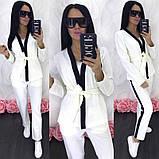 Женский прогулочный брючный костюм двойка кардиган пиджак + брюки лампасы, фото 2