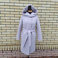 Женское, демисезонное кашемировое пальто с капюшоном большого размера р- 46, 48,50, 52, 54, 56, 58, 60 Новинка