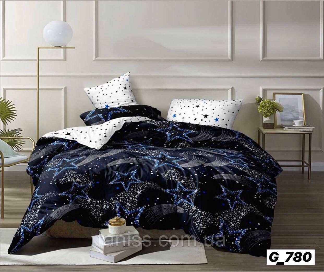 """Двухспальный набор постельного белья Бязь """"Gold"""",белый-черный, звезды"""