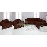 Чехлы универсальные на угловой диван и два кресла с оборкой Concordia (жатка-креш) 201 шоколад