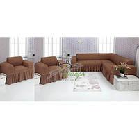 Чехлы универсальные на угловой диван и два кресла с оборкой Concordia (жатка-креш) 202 капучино