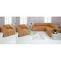 Чехлы универсальные на угловой диван и два кресла с оборкой Concordia (жатка-креш) 203 медовый