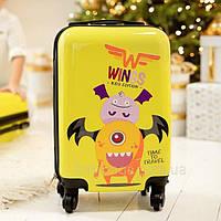Чемодан детский Wings Монстр желтый, Микро XS (28 литров) для ручной клади на 4-х колесах