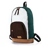 """Оригинальный Молодежный рюкзак """"Триколор"""" зелёный +коричневый ,высококачественный, фабричный!"""