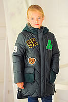 "Зимняя куртка парка для девочки ""Буквы"" хаки"