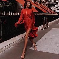 Красивое нарядное миди красное платье на длинный рукав (XS, S, M)