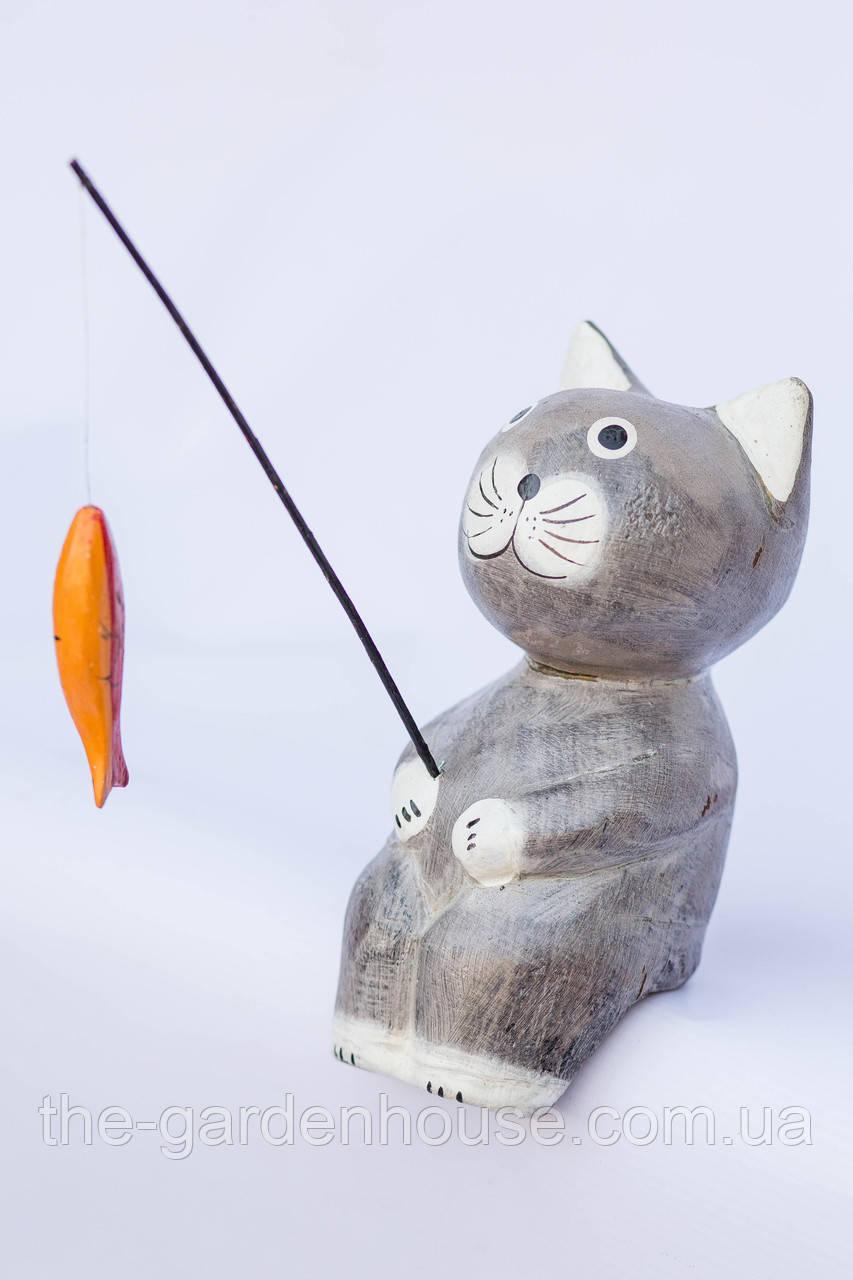 Кот-рыбак объемный (серый), 20 см