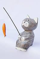Кот-рыбак объемный (серый), 20 см, фото 1