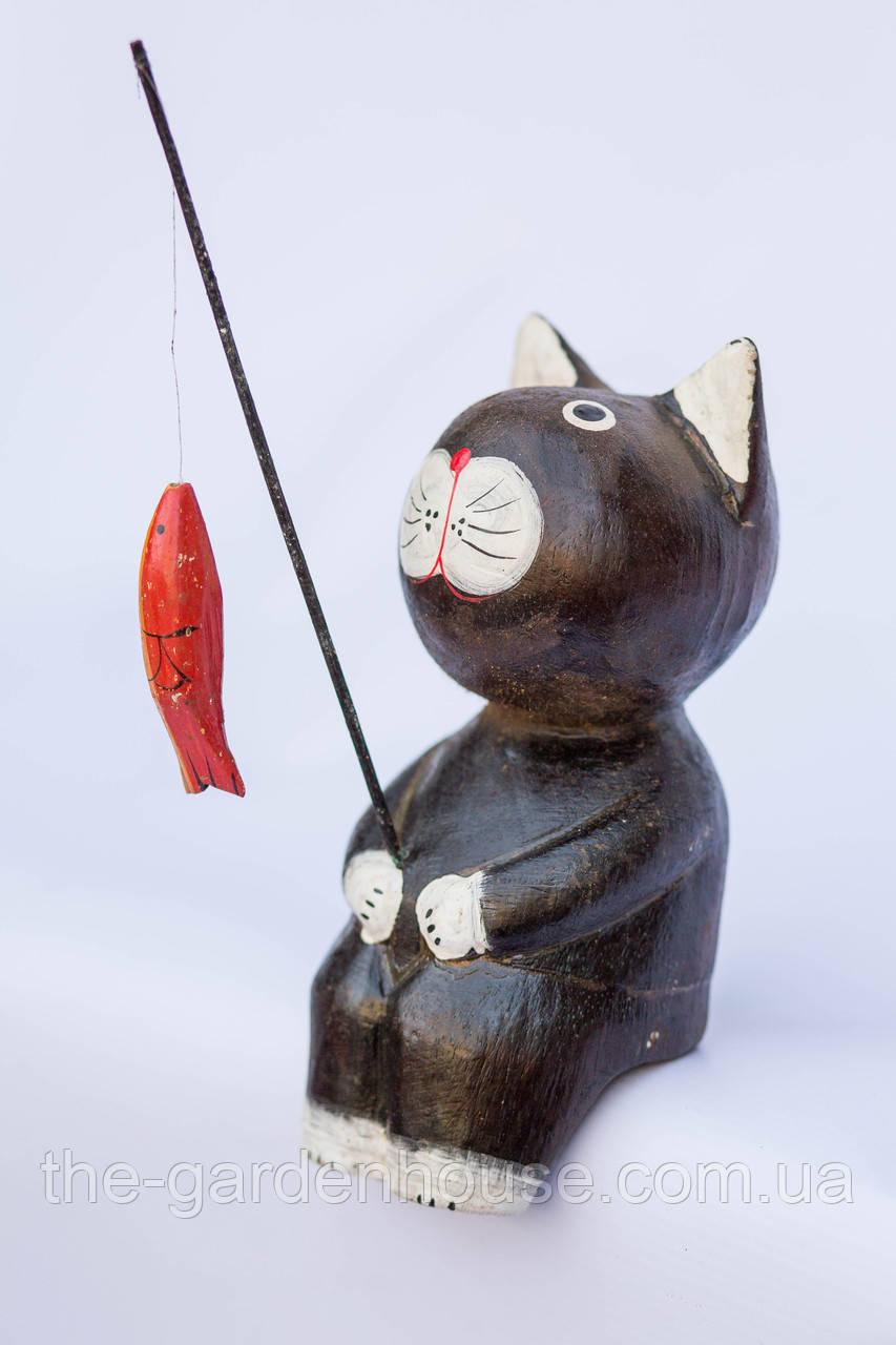 Кот-рыбак объемный (коричневый), 20 см