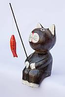 Кот-рыбак объемный (коричневый), 20 см, фото 1