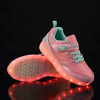 Светящиеся кроссовки LED, розовые (USB подзарядка), размер 25,27,37 (LK 1049)