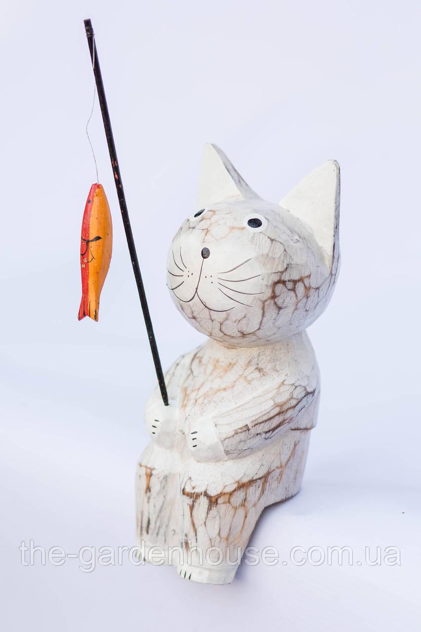 Кот-рыбак объемный (белый), 20 см