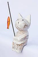 Кот-рыбак объемный (белый), 20 см, фото 1