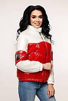Двухцветная женская куртка демисезон ЛАК -1236, в расцветках (44-54) белый