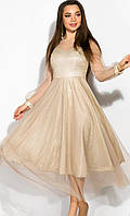 Блестящее расклешенное золотистое платье на длинный рукав, XL, золотистый