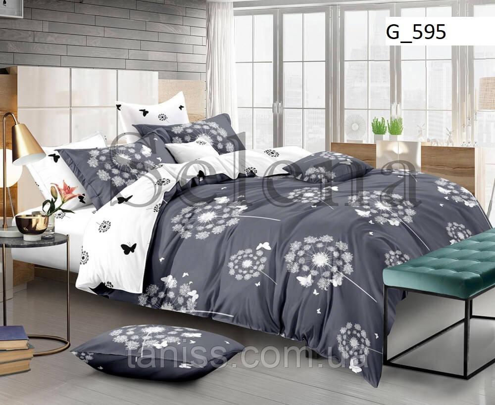 """Двухспальный набор постельного белья Бязь """"Gold"""",белый-серый, соцветие (595)"""