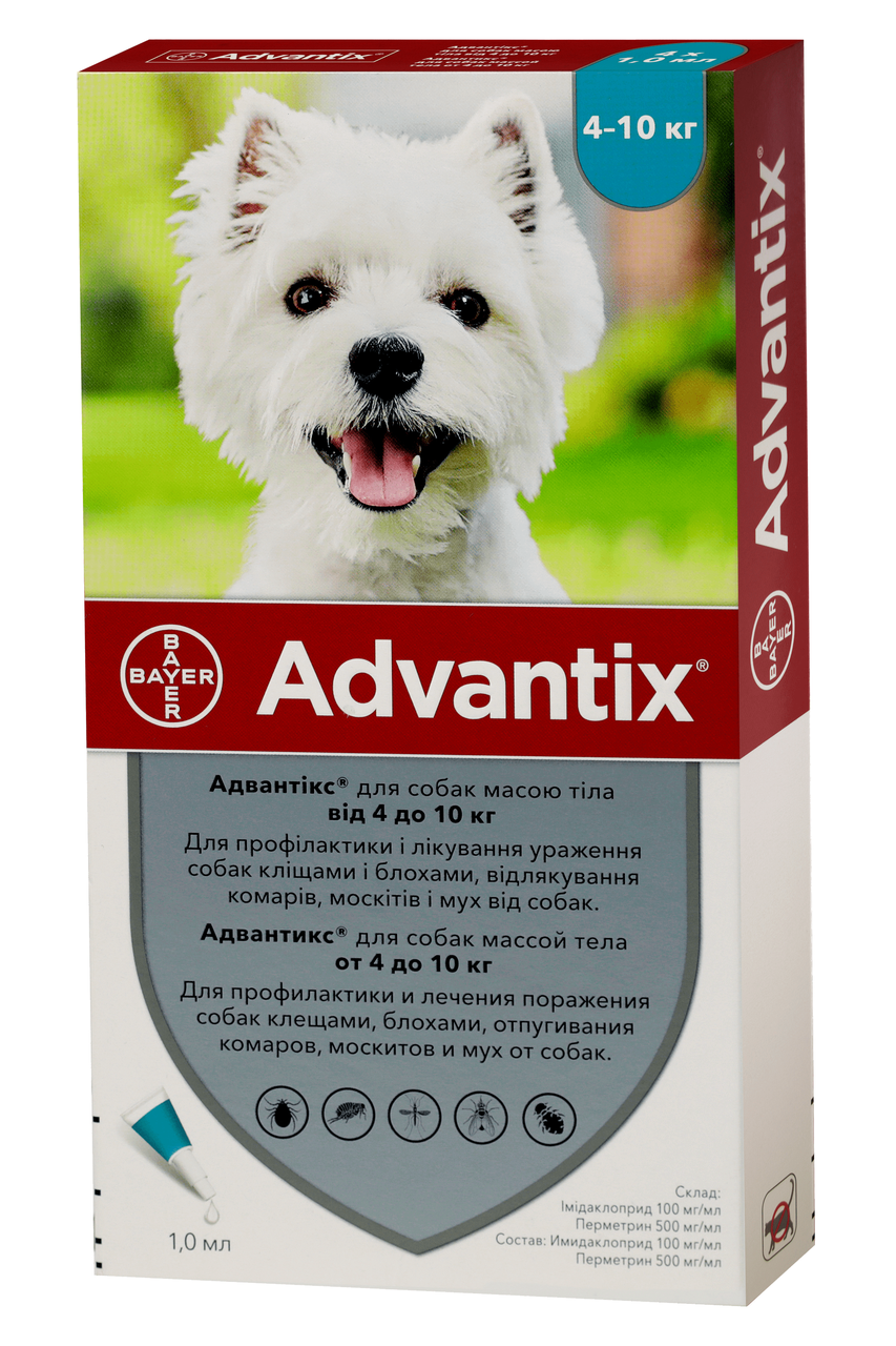 Капли от блох и клещей Адвантикс Advantix Bayer для собак 4-10 кг 1 пипетка