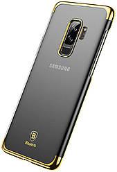 Чехол для Samsung Galaxy S9 Plus G965 (2018) - Baseus, прозрачный, пластик, золотистый, #WISAS9P-DW0V