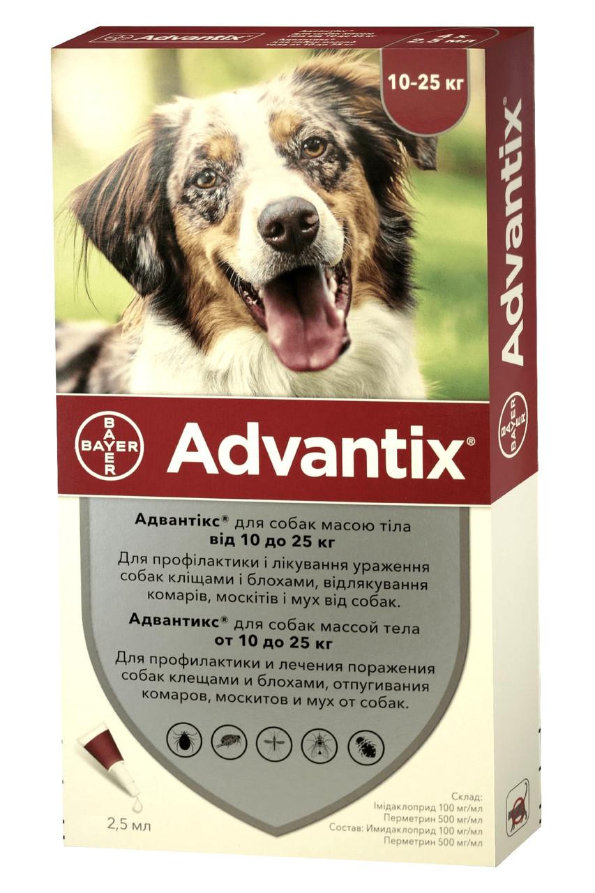 Краплі від бліх і кліщів Адвантікс Advantix Bayer для собак 10-25 кг 1 піпетка