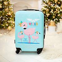 Чемодан детский Wings фламинго голубой, Мини S (45 литров) для ручной клади на 4-х колесах