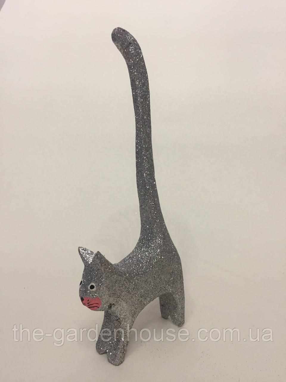 """Фигурка кота """"Хвост вверх"""" (серебрянный), 20 см"""