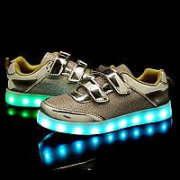 Светящиеся кроссовки LED, золотые (USB подзарядка), размер 26-36 (LK 1052)