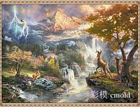 """Алмазная живопись набор """"Горный пейзаж со сказочными зверюшками"""""""