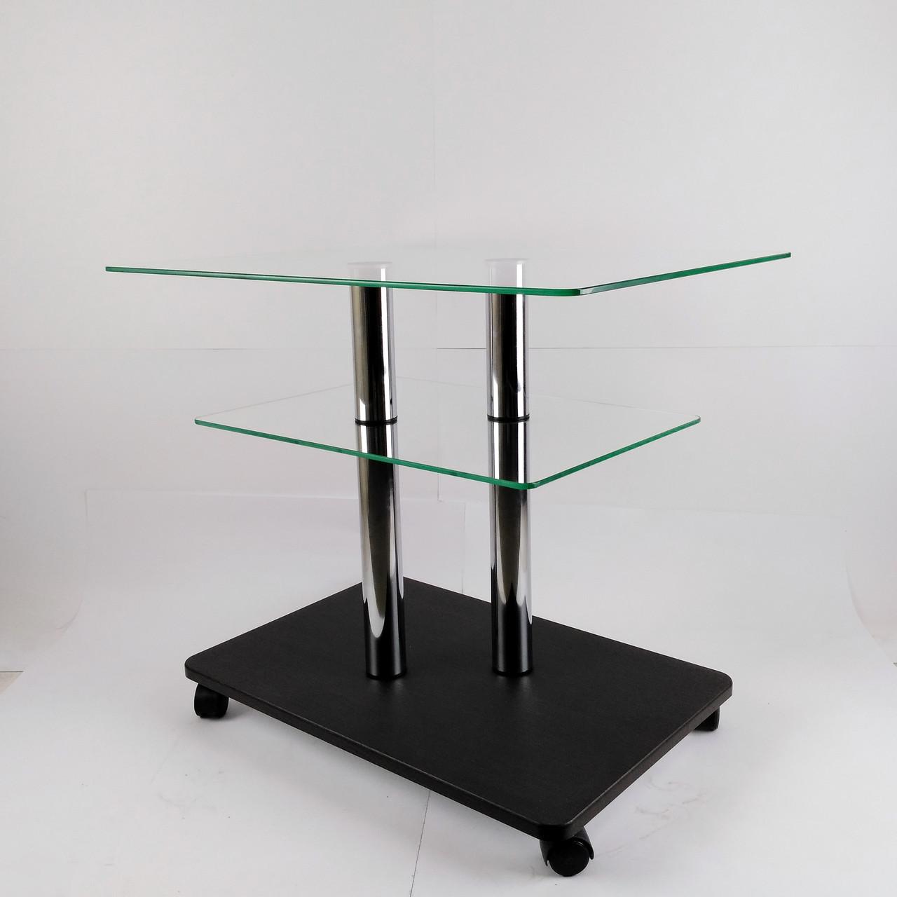 Стол журнальный стеклянный прямоугольный Commus Bravo Light P6 clear-venge-2chr50