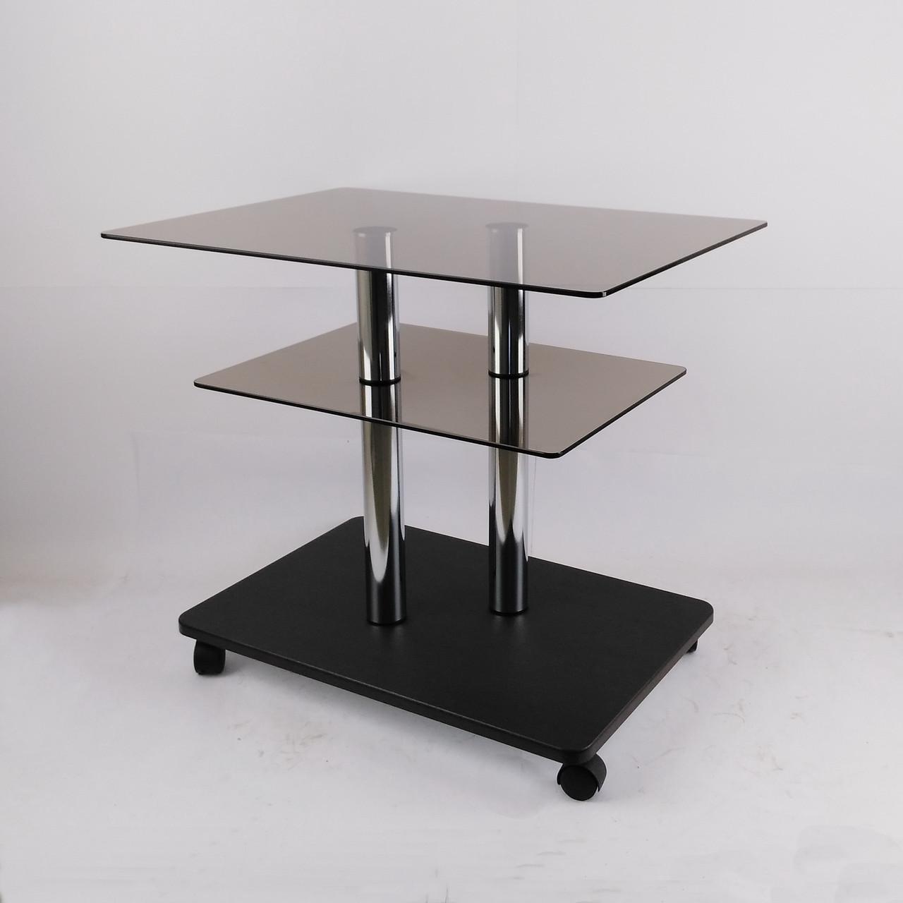 Стол журнальный стеклянный прямоугольный Commus Bravo Light P6 bronza-venge-2chr50